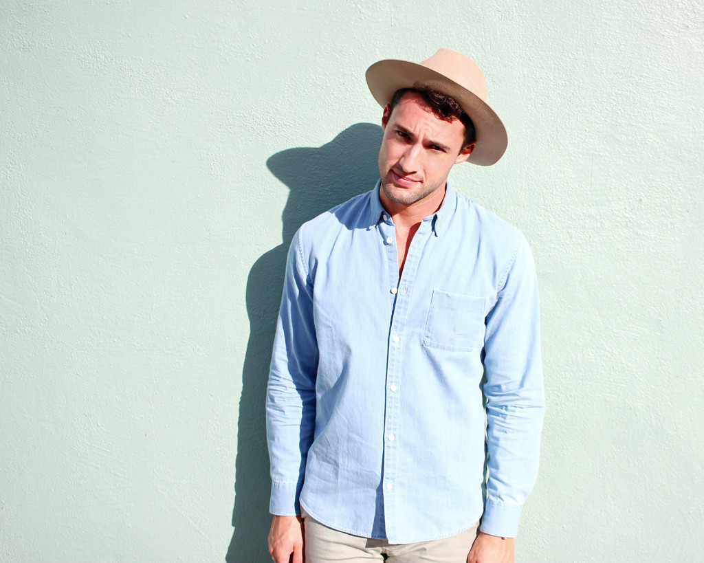 Chris, of Yummertime, in Levi's shirt and Topman hat