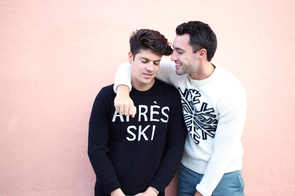 Chris and Brock, of Yummertime, wearing Gap graphic sweaters for StyldBy