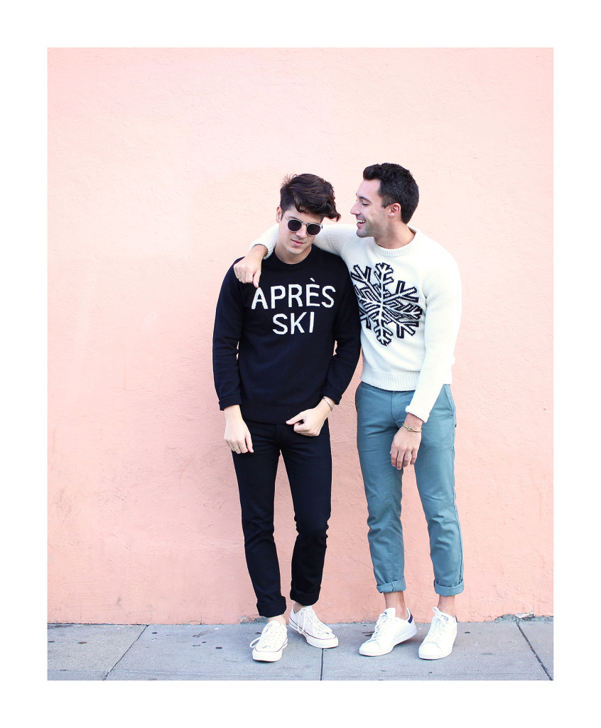 Chris and Brock, of Yummertime, wearing Gap men's graphic winter sweaters
