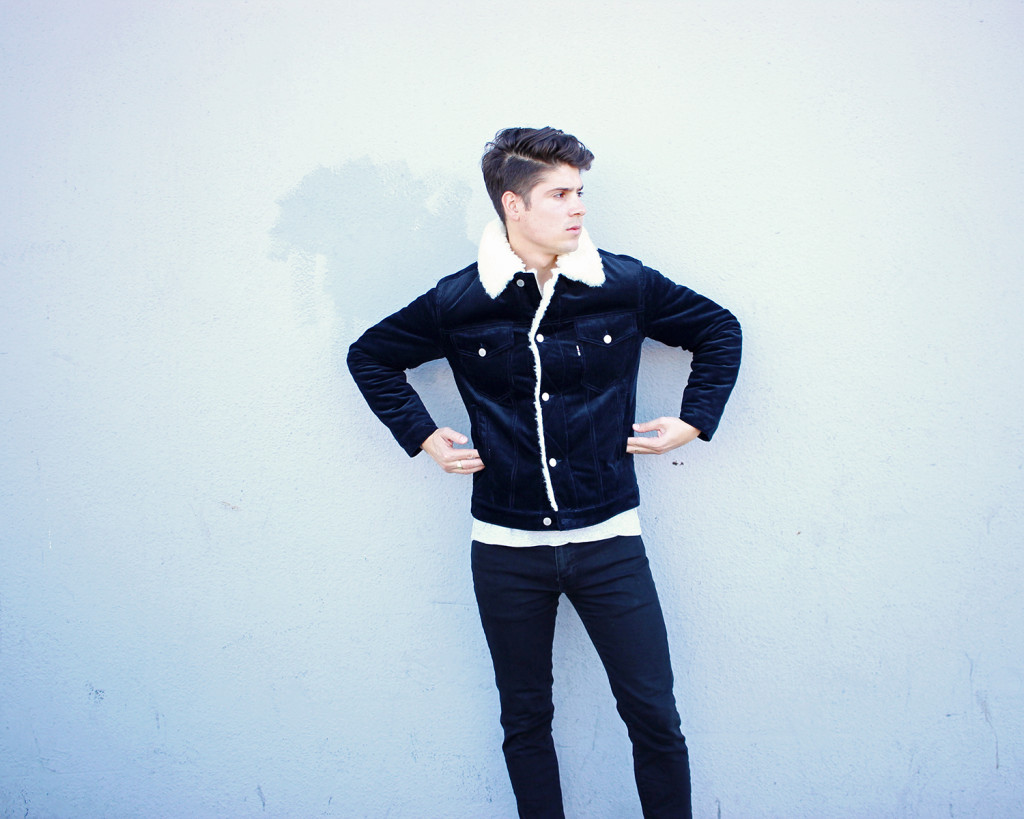 Brock, of Yummertime, wearing men's jackets for fall