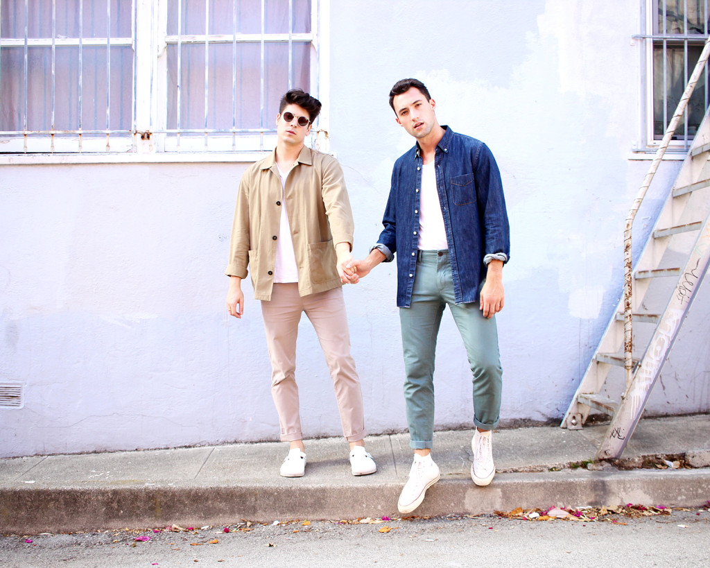 Brock and Chris, of Yummertime, style light fall layers for men