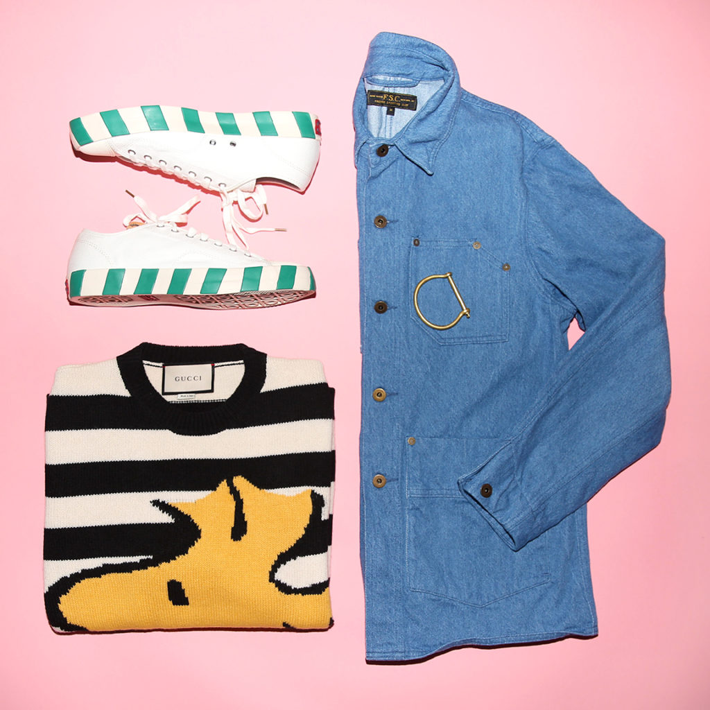 Gucci Woodstock Charlie Brown striped sweater, striped VISVIM shoes and Freemans shirt jacket from MR PORTER