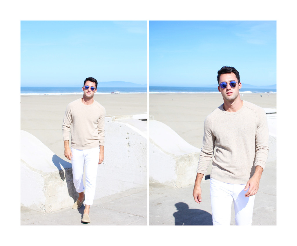 Yummertime wear white after labor day in Club Monaco sweater and white Levi's jeans