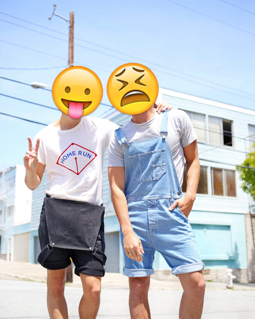 Chris Lin and Brock Williams of Yummertime wearing overalls