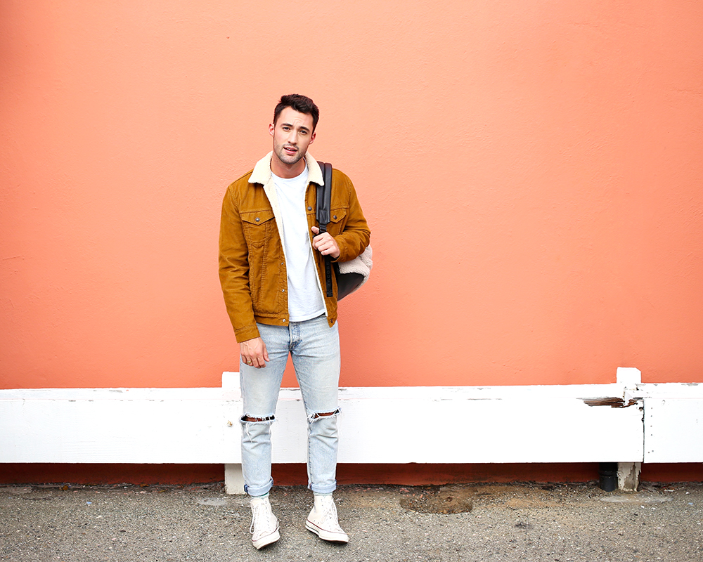 Chris, of Yummertime, wearing men's sherpa-lined jacket