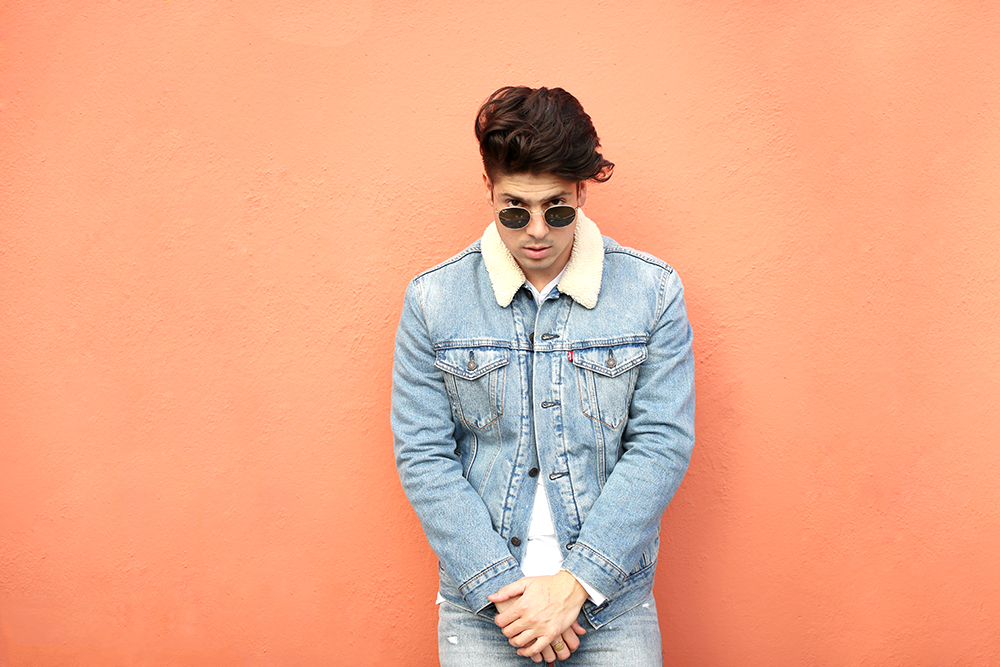 Brock, of Yummertime, in a Levi's trucker jacket