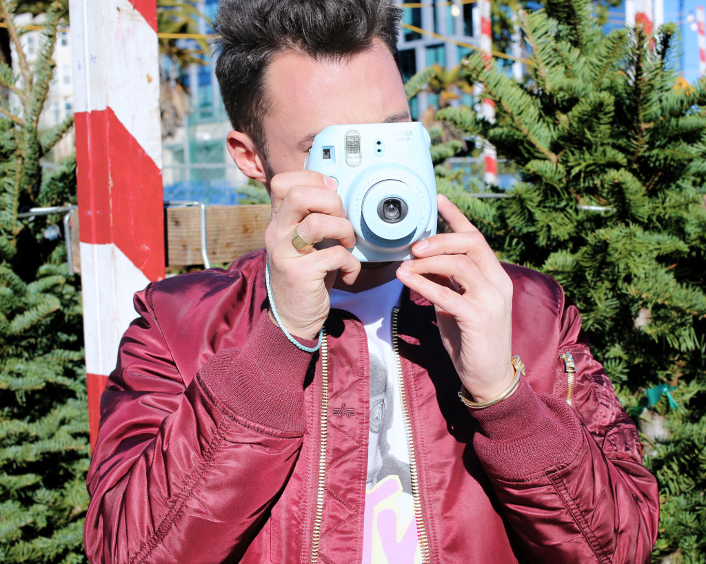Chris, of Yummertime, styles Urban Outfitters winter menswear and Fujifilm Instax Mini 8