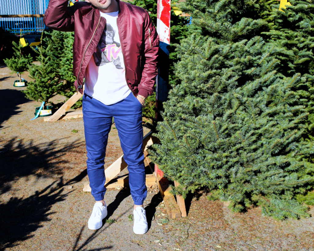 Chris, of Yummertime, wearing Alpha Industries jacket from Urban Outfitters