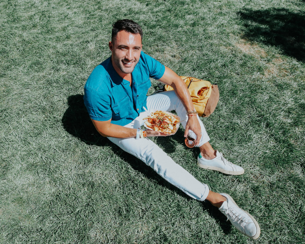 Chris Lin with kimchi fries from Sonoma Harvest