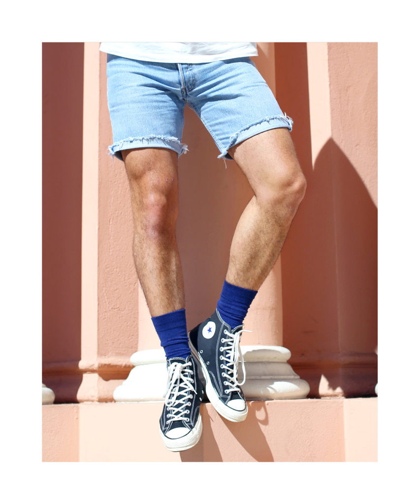 HUE mens socks with Converse hi-tops