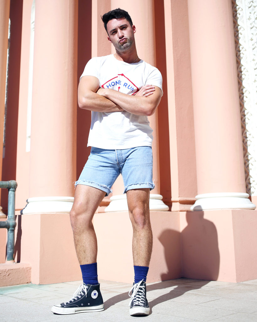 856127b1b6 ... Levis tee and shorts with HUE socks and Converse hi-tops ...
